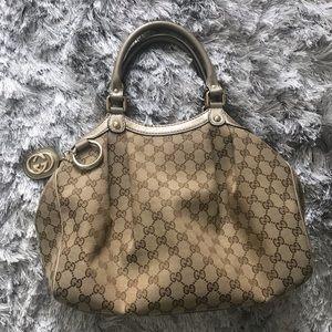 Gucci Sukey Hobo Handbag With Gold